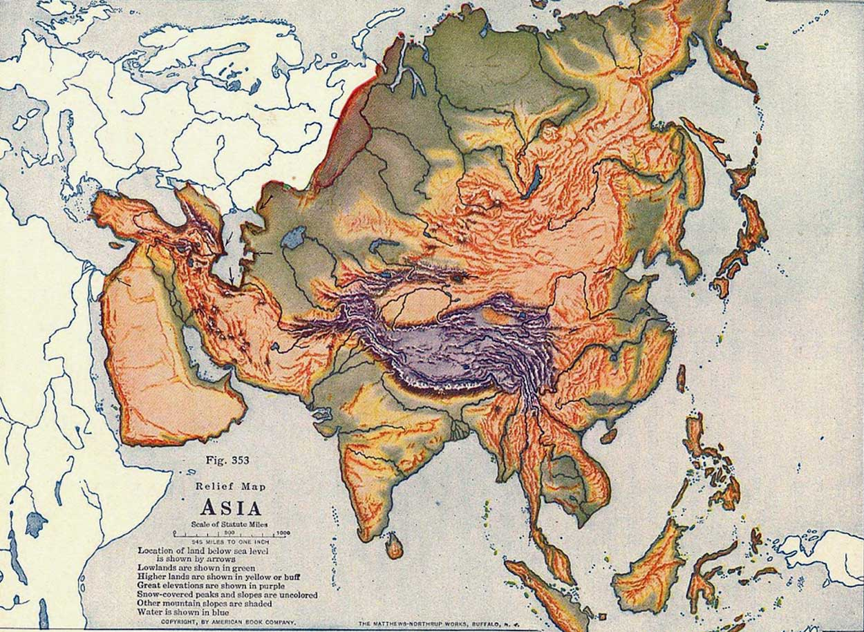 Map Of Asia Mountains.Physical Map Of Asia