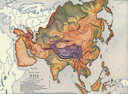Physical Map of Asia from 1920