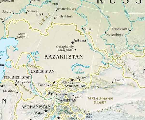 Physical Map of Central Asia