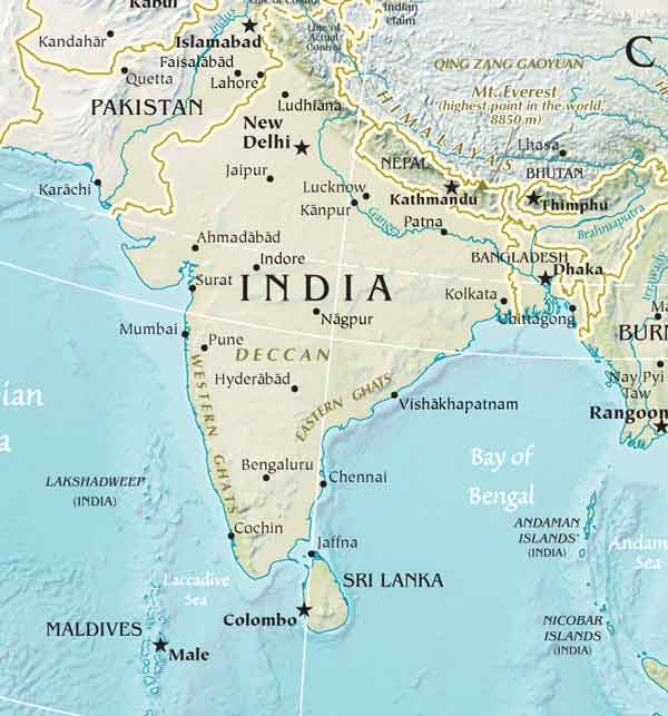 South Asia Physical Maps - South asia map