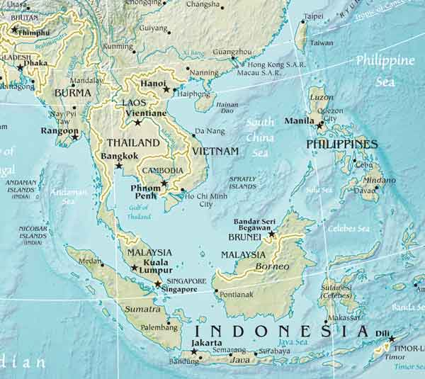 Physical Map of Southeast Asia