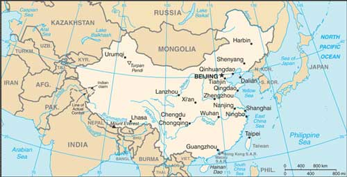 Rivers Map Of China.Geographical Map Of China