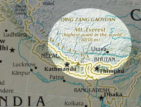 Map of Mount Everest